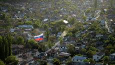 Вид на Бахчисарай со скал в Южном Крыму