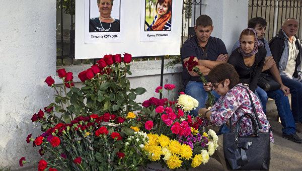 Прощание с погибшими медиками в Симферополе