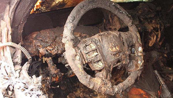 Сгоревший автомобиль. Архивное