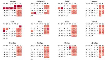 Календарь праздничных и выходных дней в 2016 году