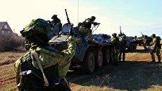 Тренировка морской пехоты Черноморского флота РФ на полигоне Казачий в Севастополе