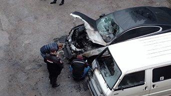 Сгоревший автомобиль в Ялте