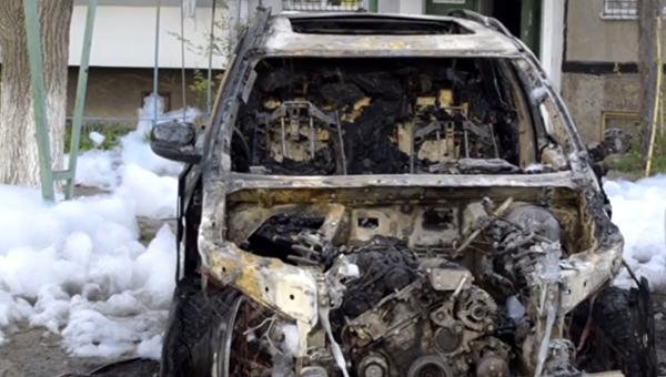Сгоревшее авто. Архивное фото