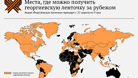 Страны, которые присоединились к акции Георгиевская ленточка
