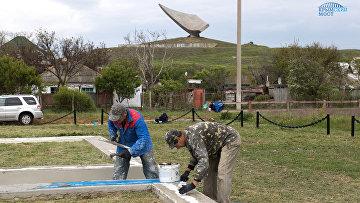 Строители Керченского пролив отремонтировали братское захоронение воинов, павших в Керченско-Эльтигенской десантной операции в годы Великой Отечественной войны