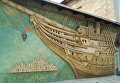 Панно на стене литературно-мемориального музея Грина в Феодосии
