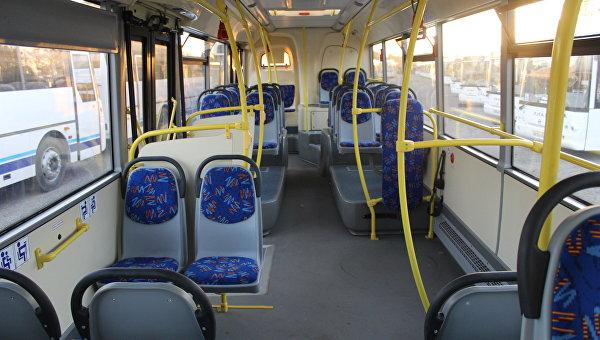 Салон нового автобуса ЛиАЗ, вышедшего на маршрут в Симферополе