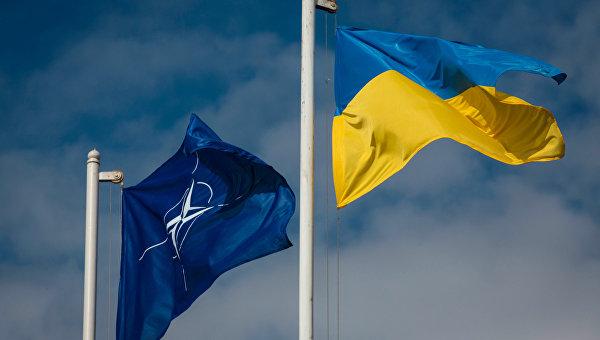 Национальный флаг Украины и флаг Организации Североатлантического договора (НАТО)
