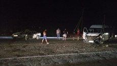 Столкновение легкового автомобиля Opel Vectra и маршрутного микроавтобуса Mercedes Sprinter на трассе Симферополь-Севастополь