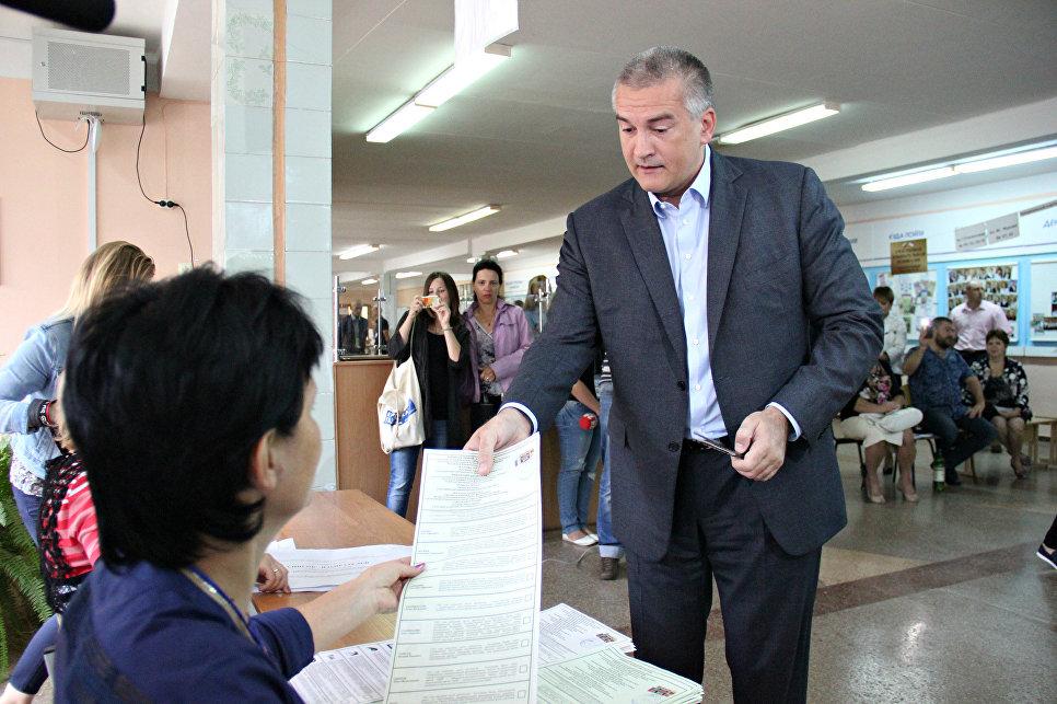 Руководитель Крыма Сергей Аксёнов проголосовал навыборах