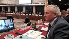 Председатель болгарской национально-культурной автономии Крыма Иван Абажер на совещании ОБСЕ по правам человека в Варшаве