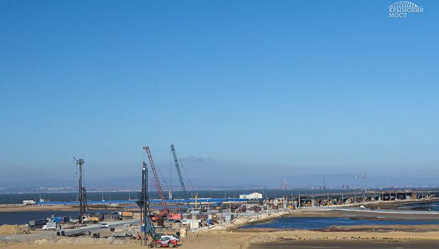 На первом участке строительства Крымского моста завершилось обустройство свай