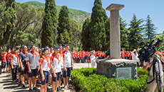 Открытие юбилейной смены в Артеке, посвященной 90-летию лагеря. Июнь 2015 года