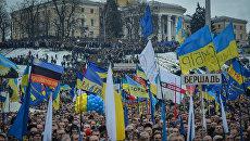 Сторонники евроинтеграции Украины во время митинга на площади Независимости в Киеве.