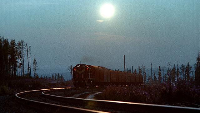Поезд на трассе Западного участка БАМа
