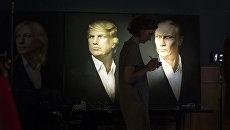 Портреты президента России Владимира Путина и президента США Дональда Трампа