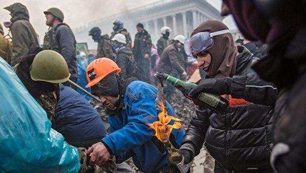 ВКиеве проходят акции послучаю беспорядков 2014 года