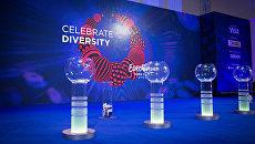 Подготовка к церемонии жеребьевки конкурса Евровидение 2017 в Киеве. Архивное фото