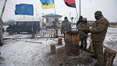 Участники торговой блокады Донбасса в районе Торецка