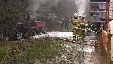 Под Севастополем в ДТП сгорела иномарка
