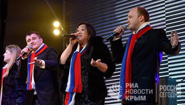 Праздничный концерт в честь третьей годовщины воссоединения Крыма с Россией в Симферополе
