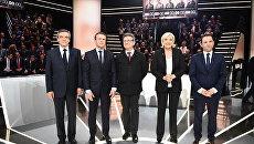 Участники предвыборных дебатов во Франции (слева направо): Франсуа Фийон, Эммануэль Макрон, Жан-Люк Меланшон, Марин Ле Пен и Бенуа Амон