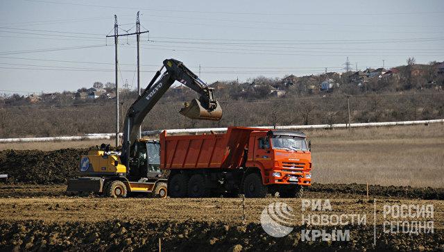 Строительство автомобильного подхода к мосту через Керченский пролив со стороны Крыма