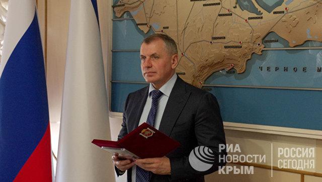 Председатель Государственного совета Республики Крым Владимир Константинов на встрече с делегацией политиков и предпринимателей из Германии