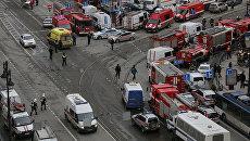 Ситуация у станции метро Технологический институт в Санкт-Петербурге, где 3 апреля 2017 года произошли взрывы