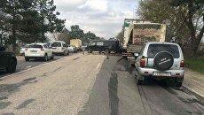 ДТП на бахчисарайской трассе с участием фуры и машины Крымавтодора