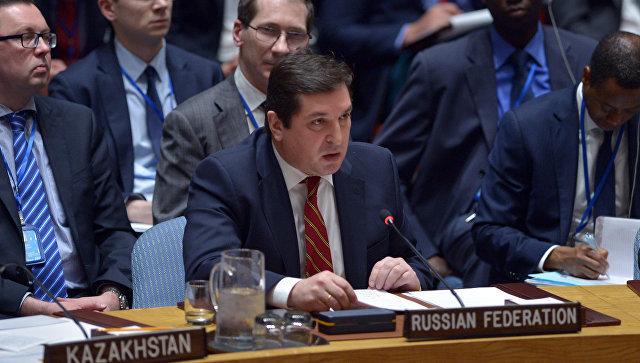 Заместитель постпреда РФ при ООН Владимир Сафронков на заседании Совбеза ООН по Сирии. 7 апреля 2017