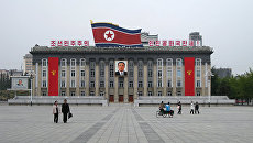 Центральная площадь в Пхеньяне, КНДР. Архивное фото