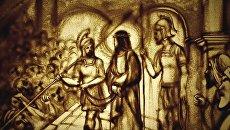 Песочная анимация Ксении Симоновой Христос Воскрес