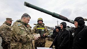 Президент Украины Петр Порошенко во время рабочей поездки в Луганскую область