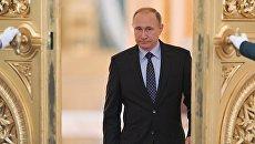 Президент РФ Владимир Путин на совместном заседании Госсовета и Комиссии по мониторингку достижения целевых показателей социально-экономического развития. 4 мая 2017