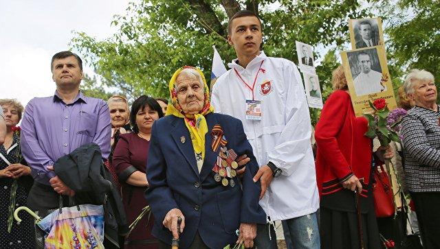 Ветеран Великой Отечественной войны на праздновании Дня Победы в Симферополе