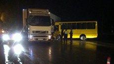 ДТП с участием втобуса БАЗ А079.14 и Volvo FH-NRUCK 4x2 на перекрестке улиц Севастопольская и Железнодорожная в Симферополе