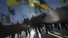 Активисты партии Свобода во время демонстрации в Киеве, Украина