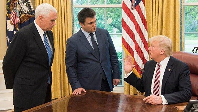 Президент США Дональд Трамп, вице-президент Майк Пенс, глава МИД Украины Павел Климкин во время встречи в Вашингтоне. 10 мая 2017 года