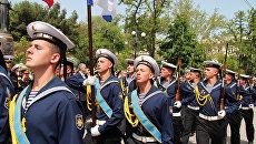 Рота почетного караула ЧФ на торжественном митинге, посвященном 234-й годовщине основания Черноморского флота России