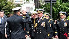 Командующий Черноморским флотом России адмирал Александр Витко на торжественном вмитинге, посвященном 234-й годовщине основания ЧФ РФ