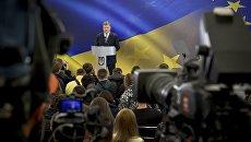Президент Украины Петр Порошенко во время пресс-конференции. 14 мая 2017