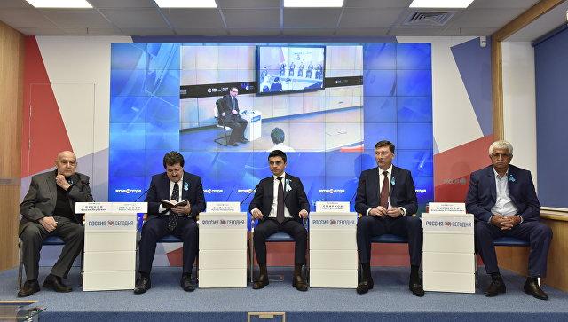 Пресс-конференция в формате видеомоста Симферополь — Москва, приуроченная к отмечаемому 18 мая Дню всекрымской памяти