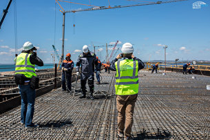 Съемочный день на стройке Крымского моста с депутатом Госдумы РФ Николаем Валуевым