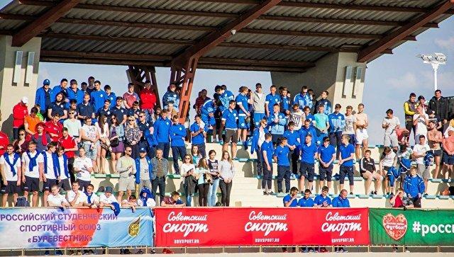 Болельщики на финальном этапе Национальной студенческой футбольной лиги, который прошел на базе спорткомплекса Арена-Крым в Евпатории