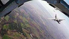 Боевые вылети самолетов Су-25 ВКС России в сопровождении сирийских самолетов МиГ-29