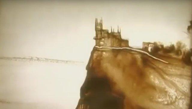 Скриншот с промо-ролика Люблю Крым! - песочная анимация Ксении Симоновой