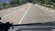 Красная разметка на трассе Симферополь-Ялта
