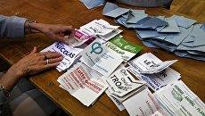 Подсчет голосов на избирательном участке во Франции