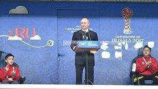 Президент РФ Владимир Путин выступает на стадионе Санкт-Петербург перед матчем между сборными России и Новой Зеландии. 17 июня 2017